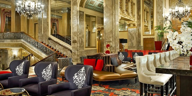 The lobby at Sir Francis Drake, a Kimpton Hotel