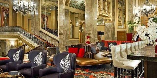 The lobby at Sir Francis Drake, a Kimpton Hotel