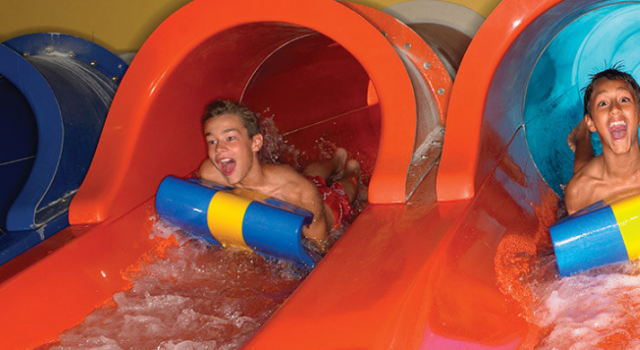 Slides at the waterpark of Great Wolf lodge