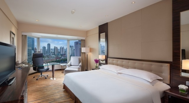 Guest room at Hilton Shanghai hotel
